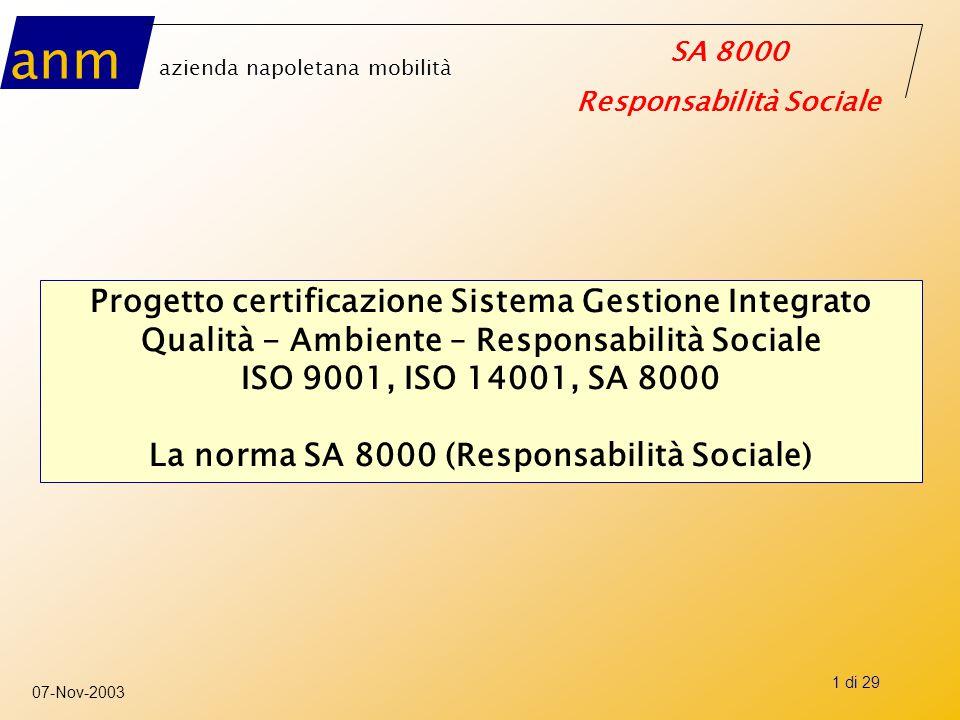 anm azienda napoletana mobilità SA 8000 Responsabilità Sociale 07-Nov-2003 2 di 29 Il progetto di certificazione del Sistema di Gestione Integrato: Qualità, Ambiente ed Etica La tempistica
