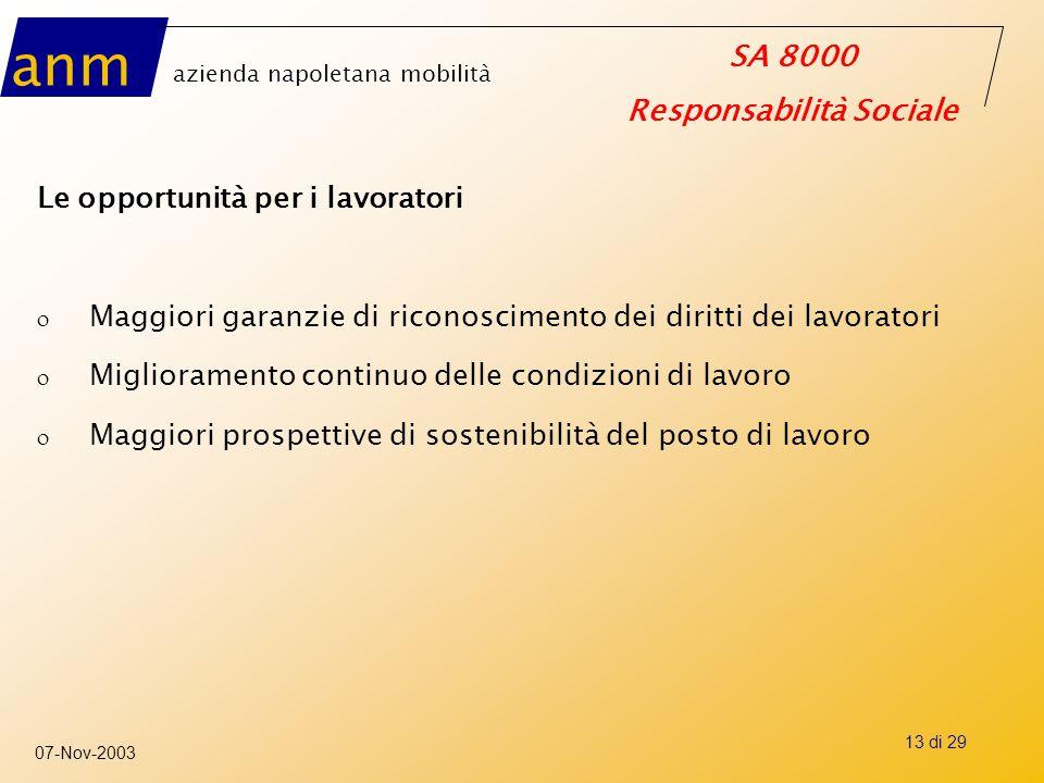 anm azienda napoletana mobilità SA 8000 Responsabilità Sociale 07-Nov-2003 13 di 29 Le opportunità per i lavoratori o Maggiori garanzie di riconoscime