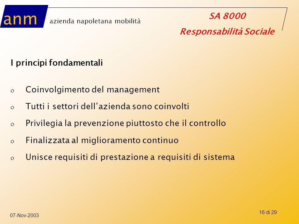 anm azienda napoletana mobilità SA 8000 Responsabilità Sociale 07-Nov-2003 16 di 29 I principi fondamentali o Coinvolgimento del management o Tutti i
