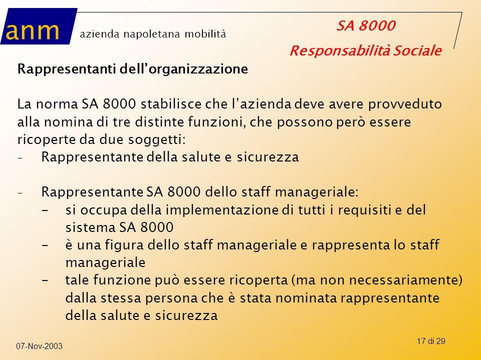 anm azienda napoletana mobilità SA 8000 Responsabilità Sociale 07-Nov-2003 17 di 29 Rappresentanti dell'organizzazione La norma SA 8000 stabilisce che