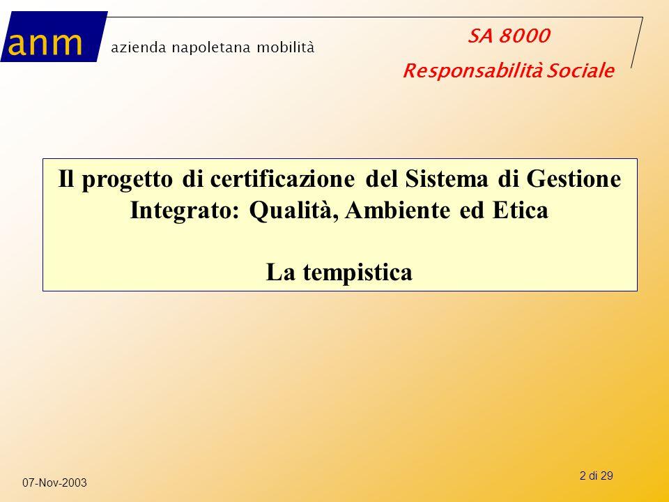 anm azienda napoletana mobilità SA 8000 Responsabilità Sociale 07-Nov-2003 3 di 29 ANM ha avviato il progetto di certificazione ISO 9001 (giugno 2002) Ha deciso l'integrazione su Ambiente (ISO 14001) e Responsabilità sociale (SA 8000) (gennaio 2003) Certificazione integrata Q – A – Rs (entro luglio 2003) OBIETTIVO
