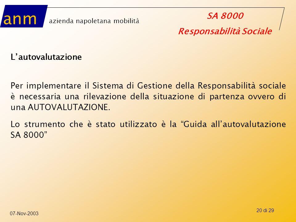 anm azienda napoletana mobilità SA 8000 Responsabilità Sociale 07-Nov-2003 20 di 29 L'autovalutazione Per implementare il Sistema di Gestione della Re