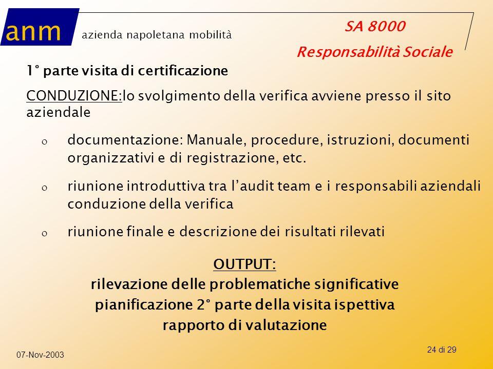 anm azienda napoletana mobilità SA 8000 Responsabilità Sociale 07-Nov-2003 24 di 29 1° parte visita di certificazione CONDUZIONE:lo svolgimento della