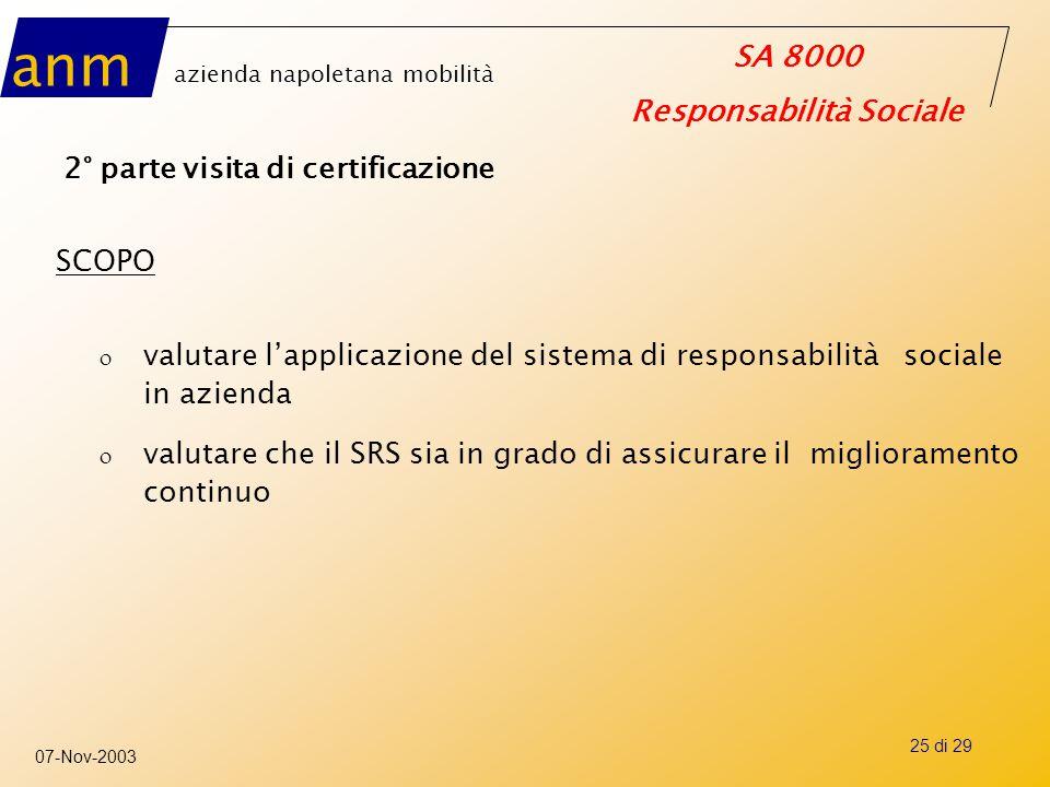 anm azienda napoletana mobilità SA 8000 Responsabilità Sociale 07-Nov-2003 25 di 29 2° parte visita di certificazione SCOPO o valutare l'applicazione