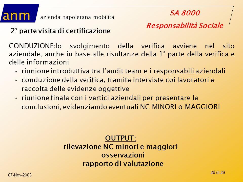 anm azienda napoletana mobilità SA 8000 Responsabilità Sociale 07-Nov-2003 26 di 29 2° parte visita di certificazione CONDUZIONE:lo svolgimento della