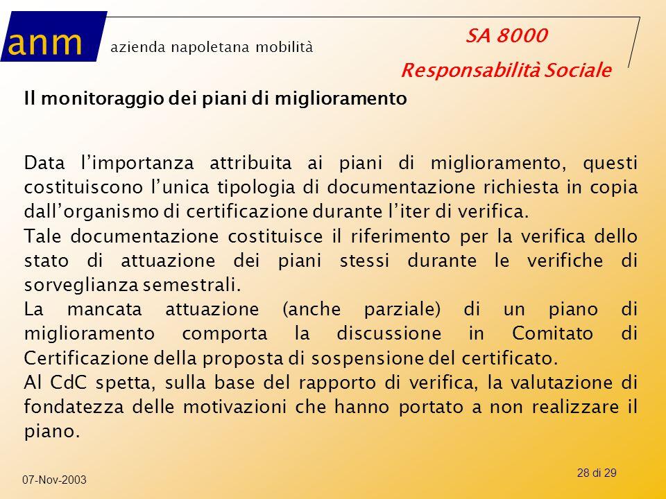 anm azienda napoletana mobilità SA 8000 Responsabilità Sociale 07-Nov-2003 28 di 29 Il monitoraggio dei piani di miglioramento Data l'importanza attri