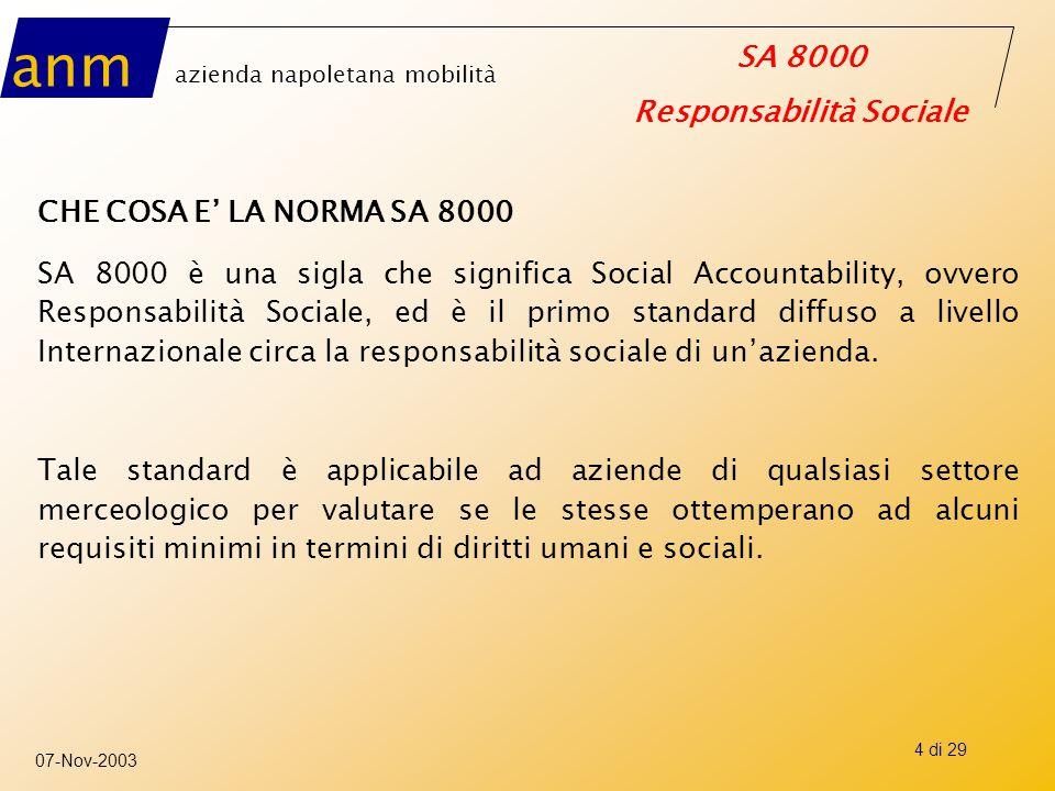 anm azienda napoletana mobilità SA 8000 Responsabilità Sociale 07-Nov-2003 25 di 29 2° parte visita di certificazione SCOPO o valutare l'applicazione del sistema di responsabilità sociale in azienda o valutare che il SRS sia in grado di assicurare il miglioramento continuo