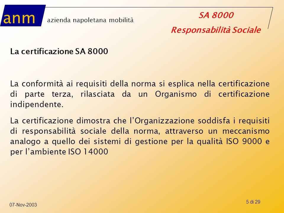 anm azienda napoletana mobilità SA 8000 Responsabilità Sociale 07-Nov-2003 5 di 29 La certificazione SA 8000 La conformità ai requisiti della norma si