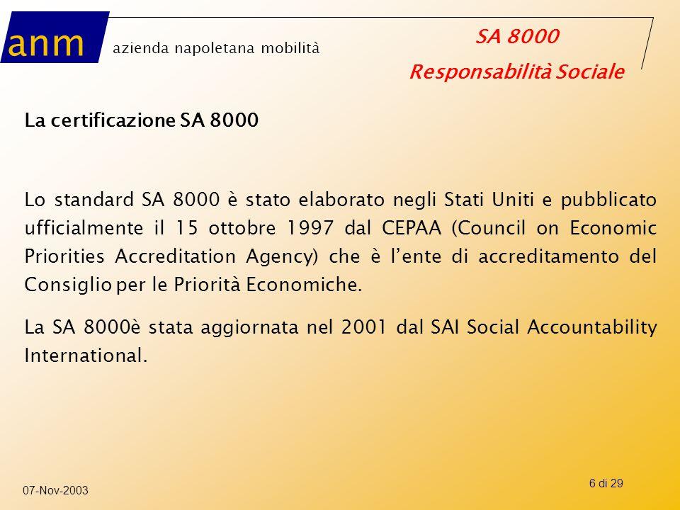 anm azienda napoletana mobilità SA 8000 Responsabilità Sociale 07-Nov-2003 7 di 29 Il ruolo del CEPAA, del SAI e del CEP Il CEPAA, organizzazione no-profit con sede negli Stati Uniti, è stato Istituito nel 1997, per l'analisi e lo sviluppo di uno standard di responsabilità sociale per le imprese.