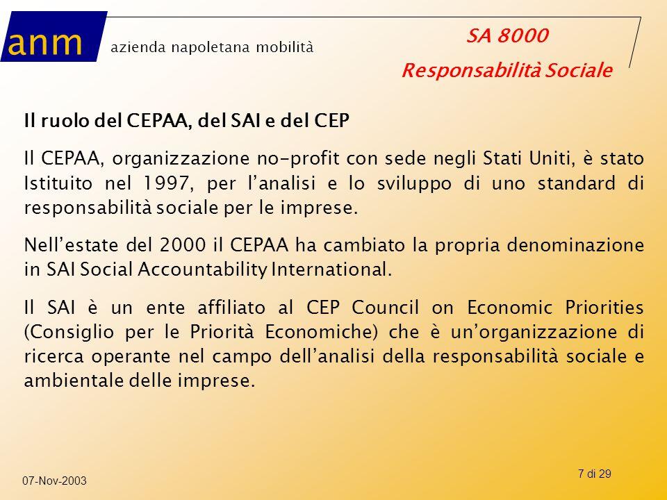 anm azienda napoletana mobilità SA 8000 Responsabilità Sociale 07-Nov-2003 7 di 29 Il ruolo del CEPAA, del SAI e del CEP Il CEPAA, organizzazione no-p