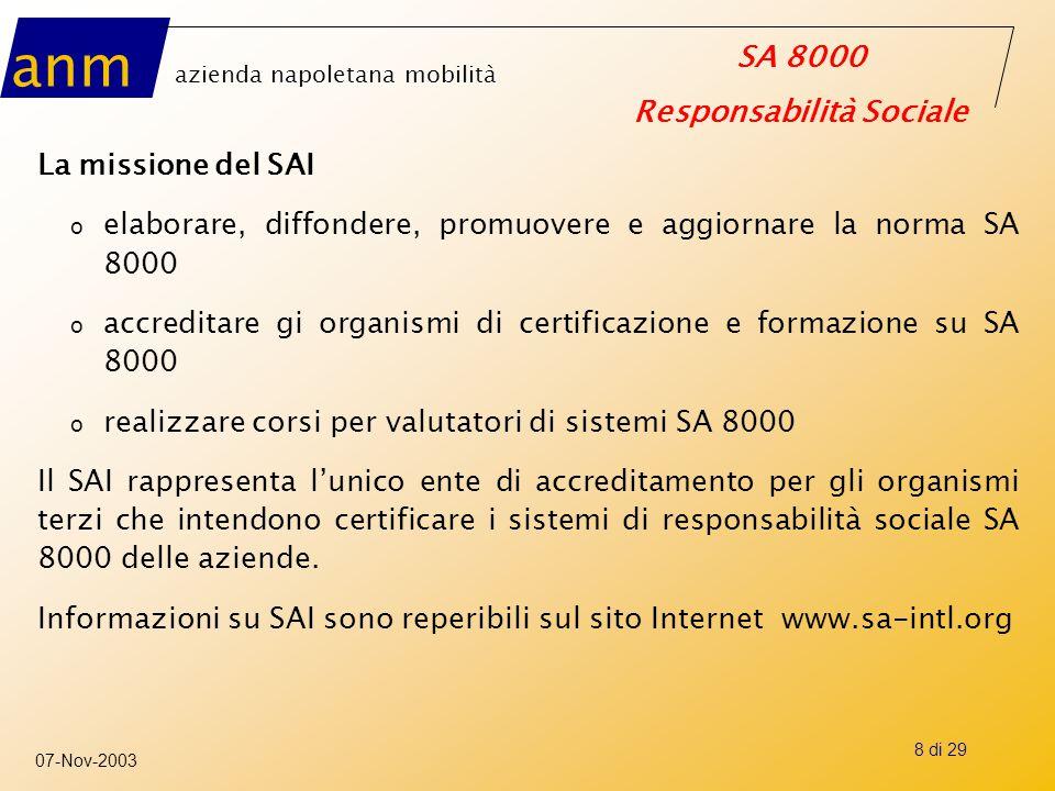 anm azienda napoletana mobilità SA 8000 Responsabilità Sociale 07-Nov-2003 8 di 29 La missione del SAI o elaborare, diffondere, promuovere e aggiornar