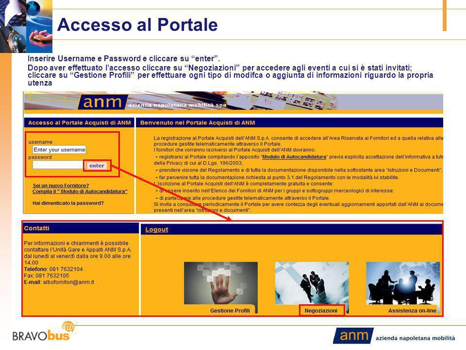 """11 Accesso al Portale Inserire Username e Password e cliccare su """"enter"""". Dopo aver effettuato l'accesso cliccare su """"Negoziazioni"""" per accedere agli"""