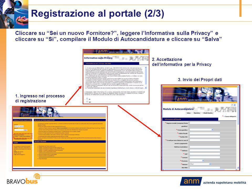 4 Registrazione al portale (2/3) Cliccare su Sei un nuovo Fornitore , leggere l'Informativa sulla Privacy e cliccare su Si , compilare il Modulo di Autocandidatura e cliccare su Salva 1.