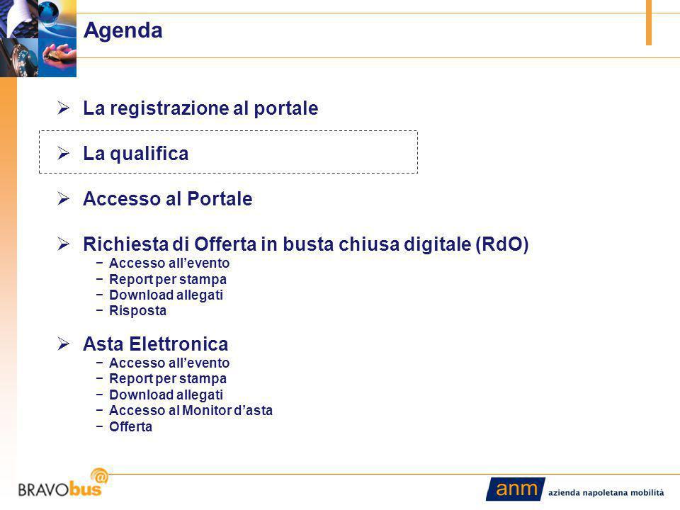 7 Agenda  La registrazione al portale  La qualifica  Accesso al Portale  Richiesta di Offerta in busta chiusa digitale (RdO) −Accesso all'evento −