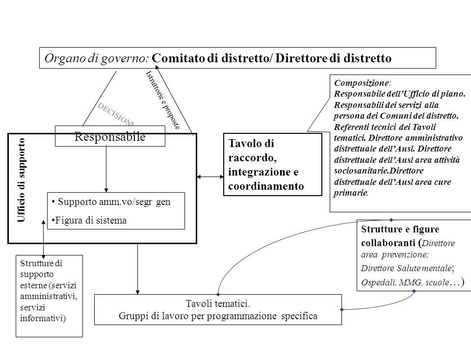 Organo di governo: Comitato di distretto/ Direttore di distretto DECISIONI Responsabile Istruttorie e proposte Ufficio di supporto Tavolo di raccordo,