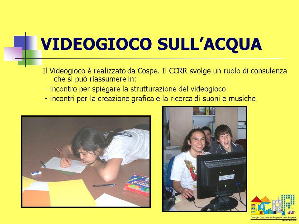 VIDEOGIOCO SULL'ACQUA Il Videogioco è realizzato da Cospe. Il CCRR svolge un ruolo di consulenza che si può riassumere in: - incontro per spiegare la