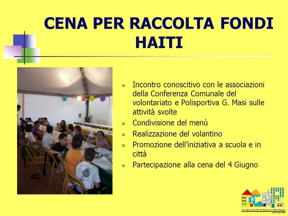 CENA PER RACCOLTA FONDI HAITI Incontro conoscitivo con le associazioni della Conferenza Comunale del volontariato e Polisportiva G. Masi sulle attivit