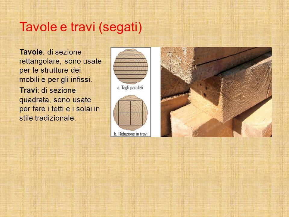 Tavole e travi (segati) Tavole: di sezione rettangolare, sono usate per le strutture dei mobili e per gli infissi. Travi: di sezione quadrata, sono us