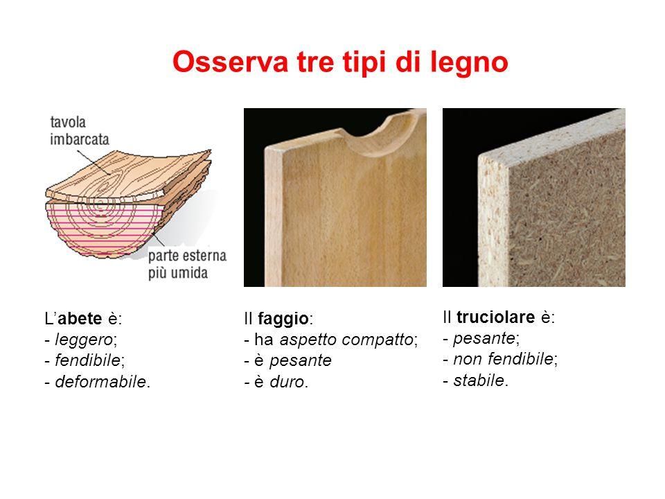 Osserva tre tipi di legno L'abete è: - leggero; - fendibile; - deformabile. Il faggio: - ha aspetto compatto; - è pesante - è duro. Il truciolare è: -