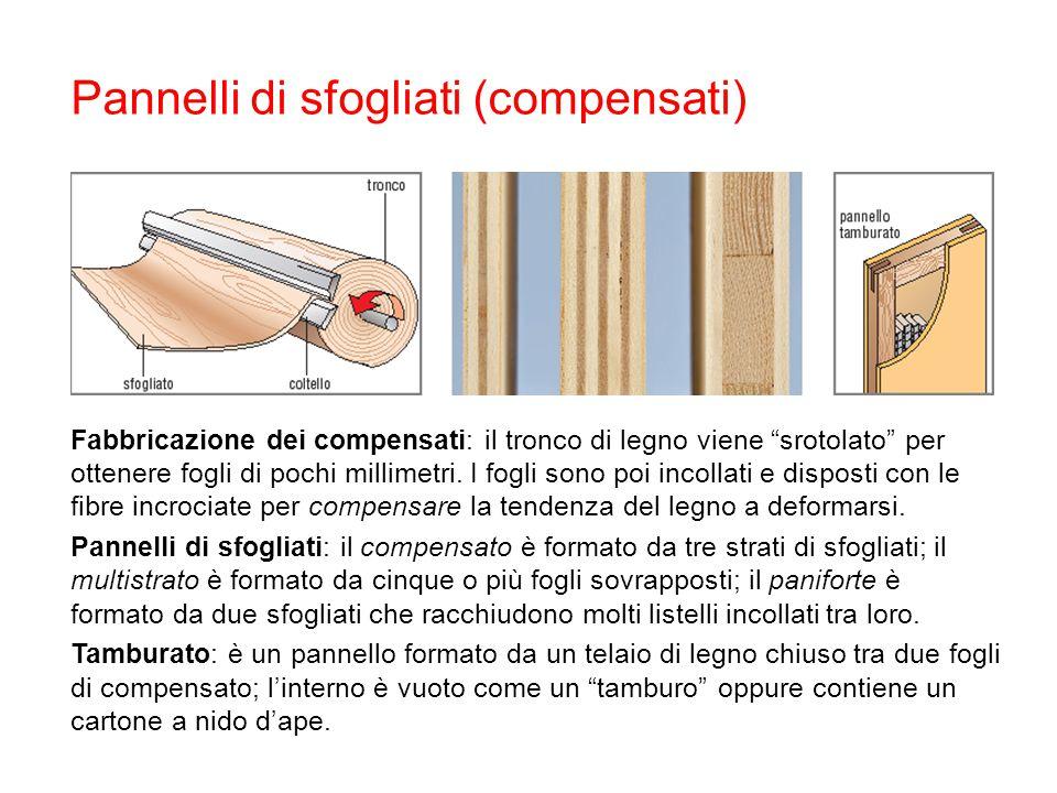 """Pannelli di sfogliati (compensati) Fabbricazione dei compensati: il tronco di legno viene """"srotolato"""" per ottenere fogli di pochi millimetri. I fogli"""