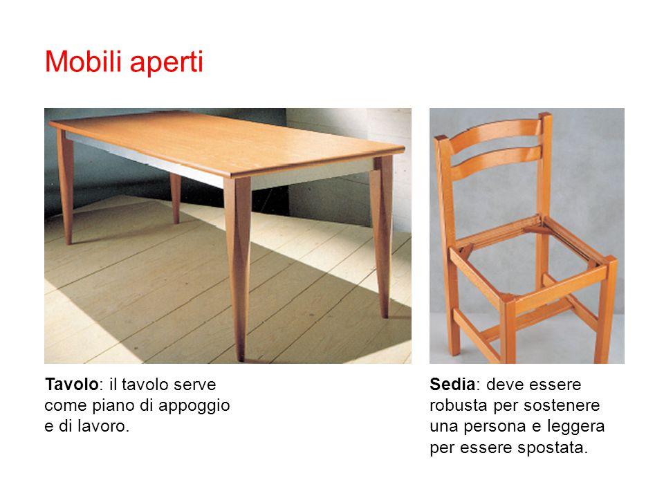 Mobili aperti Tavolo: il tavolo serve come piano di appoggio e di lavoro. Sedia: deve essere robusta per sostenere una persona e leggera per essere sp