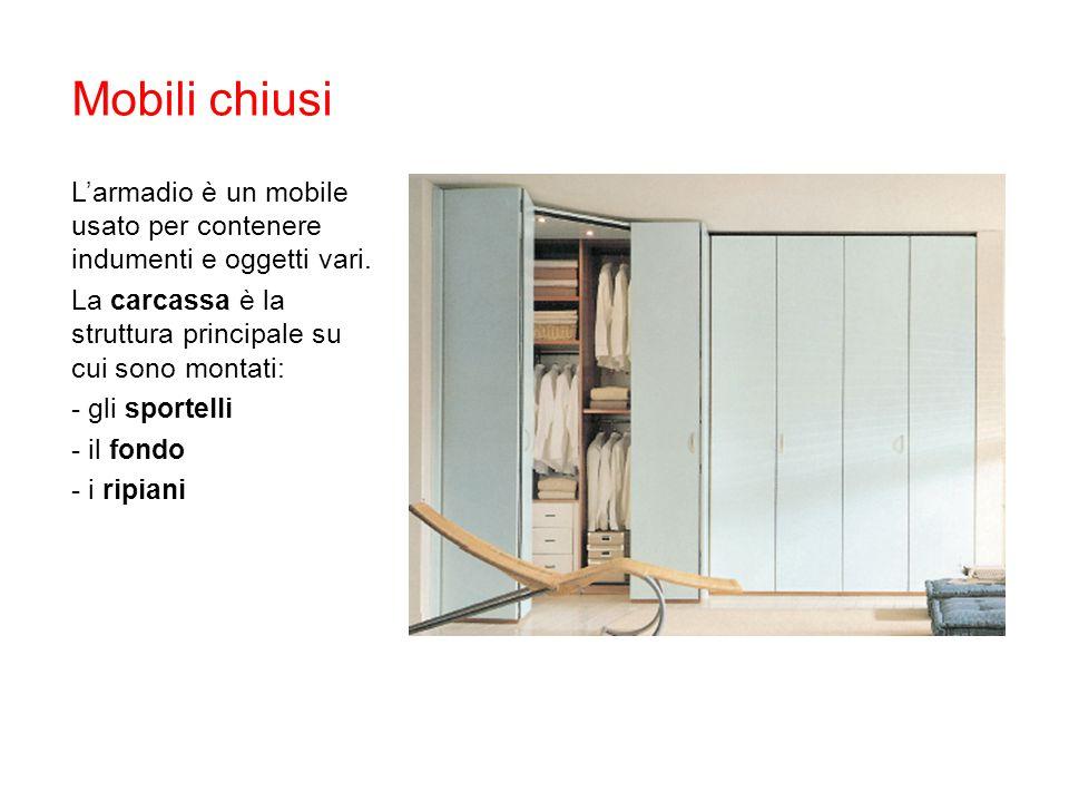 Mobili chiusi L'armadio è un mobile usato per contenere indumenti e oggetti vari. La carcassa è la struttura principale su cui sono montati: - gli spo