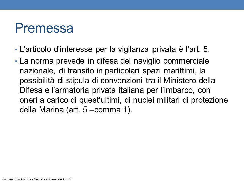Art.5 – comma 4 In alternativa a quanto disposto dal comma 1 dell'art.