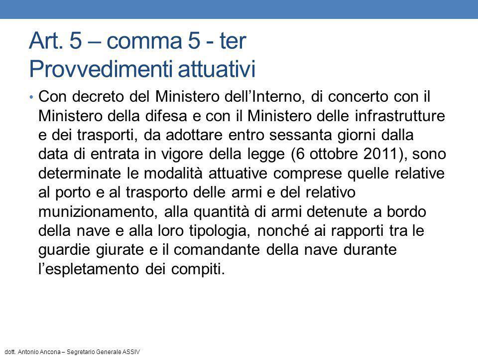 Art. 5 – comma 5 - ter Provvedimenti attuativi Con decreto del Ministero dell'Interno, di concerto con il Ministero della difesa e con il Ministero de