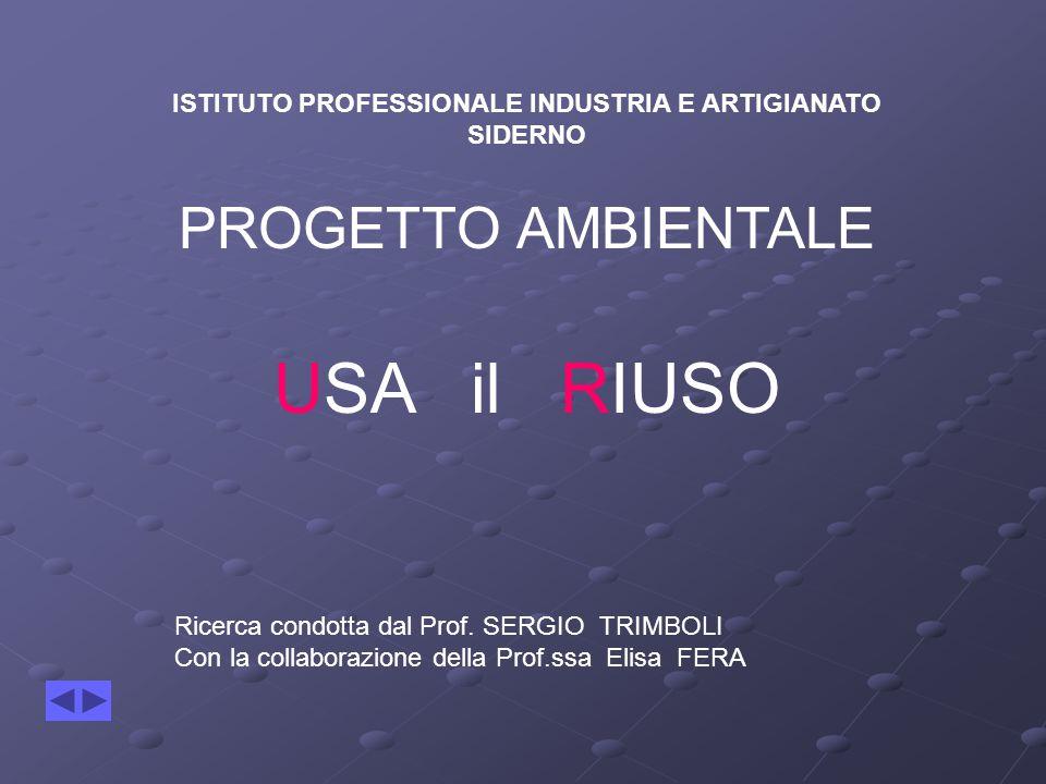 ISTITUTO PROFESSIONALE INDUSTRIA E ARTIGIANATO SIDERNO PROGETTO AMBIENTALE USA il RIUSO Ricerca condotta dal Prof. SERGIO TRIMBOLI Con la collaborazio