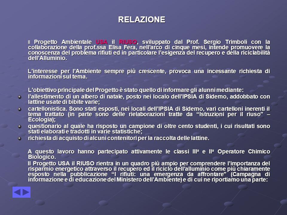 RELAZIONE RELAZIONE Il Progetto Ambientale USA il RIUSO, sviluppato dal Prof.