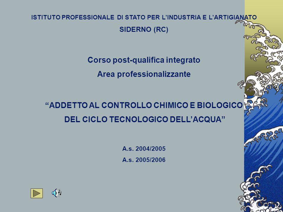 ISTITUTO PROFESSIONALE DI STATO PER L'INDUSTRIA E L'ARTIGIANATO SIDERNO (RC) Corso post-qualifica integrato Area professionalizzante ADDETTO AL CONTROLLO CHIMICO E BIOLOGICO DEL CICLO TECNOLOGICO DELL'ACQUA A.s.