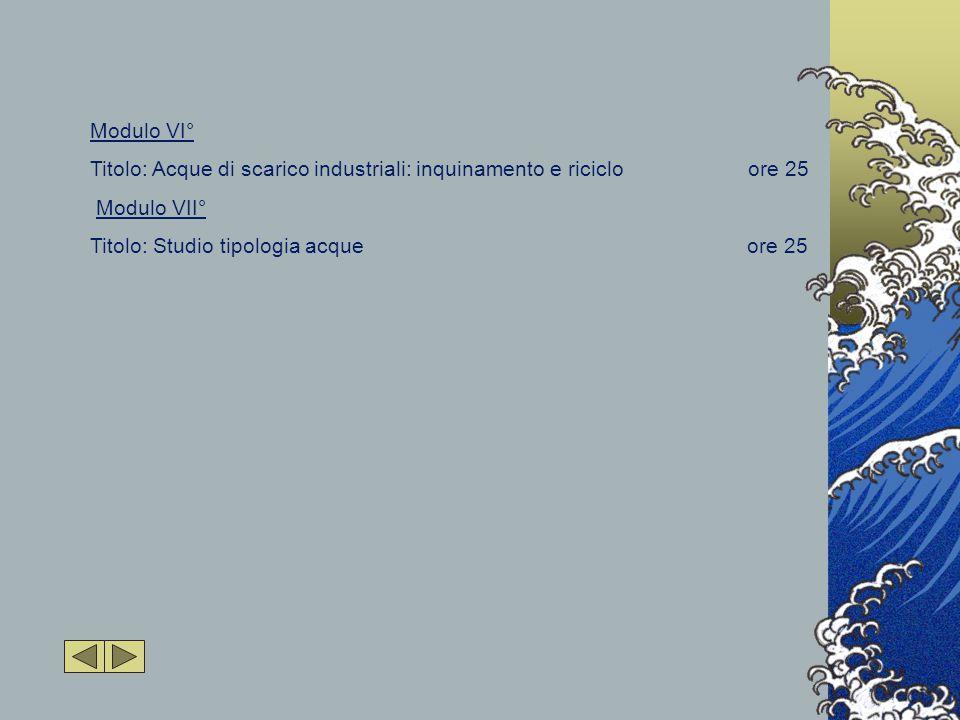 Modulo VI° Titolo: Acque di scarico industriali: inquinamento e riciclo ore 25 Modulo VII° Titolo: Studio tipologia acque ore 25
