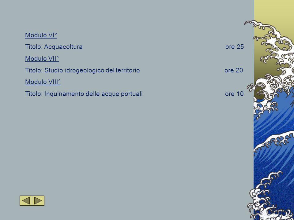 Modulo VI° Titolo: Acquacoltura ore 25 Modulo VII° Titolo: Studio idrogeologico del territorio ore 20 Modulo VIII° Titolo: Inquinamento delle acque portuali ore 10