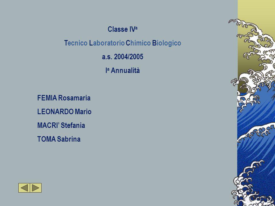 Classe IV a Tecnico Laboratorio Chimico Biologico a.s.