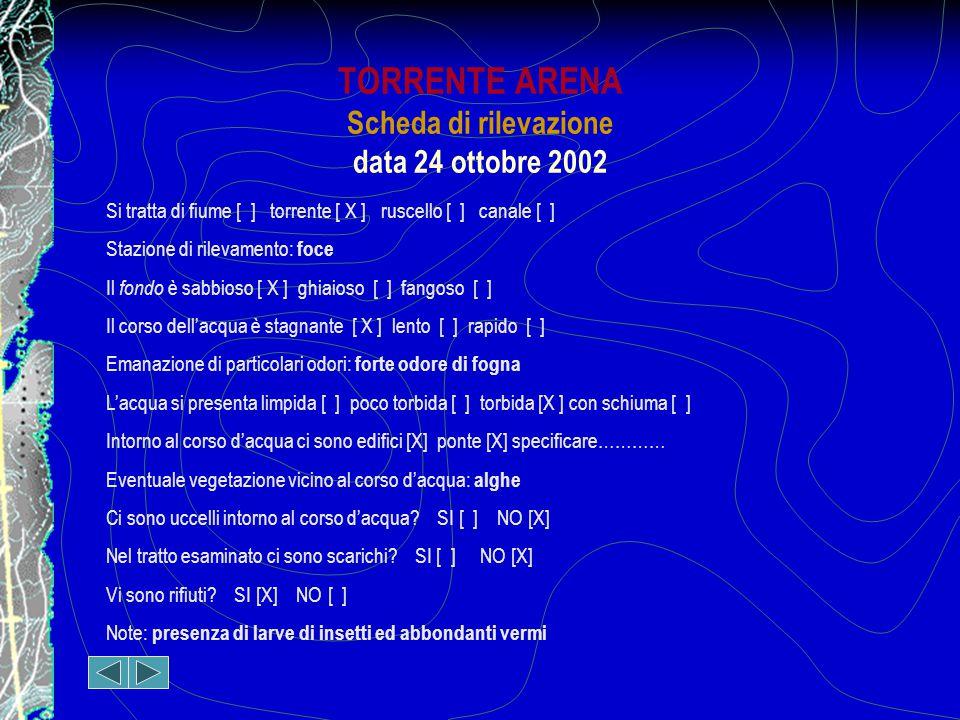 TORRENTE ARENA Scheda di rilevazione data 24 ottobre 2002 Si tratta di fiume [ ] torrente [ X ] ruscello [ ] canale [ ] Stazione di rilevamento: foce Il fondo è sabbioso [ X ] ghiaioso [ ] fangoso [ ] Il corso dell'acqua è stagnante [ X ] lento [ ] rapido [ ] Emanazione di particolari odori: forte odore di fogna L'acqua si presenta limpida [ ] poco torbida [ ] torbida [X ] con schiuma [ ] Intorno al corso d'acqua ci sono edifici [X] ponte [X] specificare………… Eventuale vegetazione vicino al corso d'acqua: alghe Ci sono uccelli intorno al corso d'acqua.