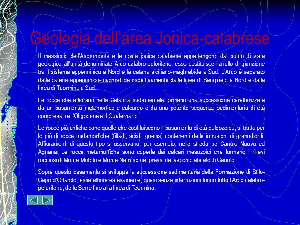 Geologia dell'area Jonica-calabrese Il massiccio dell'Aspromonte e la costa jonica calabrese appartengono dal punto di vista geologico all'unità denominata Arco calabro-peloritano; esso costituisce l'anello di giunzione tra il sistema appenninico a Nord e la catena siciliano-maghrebide a Sud.