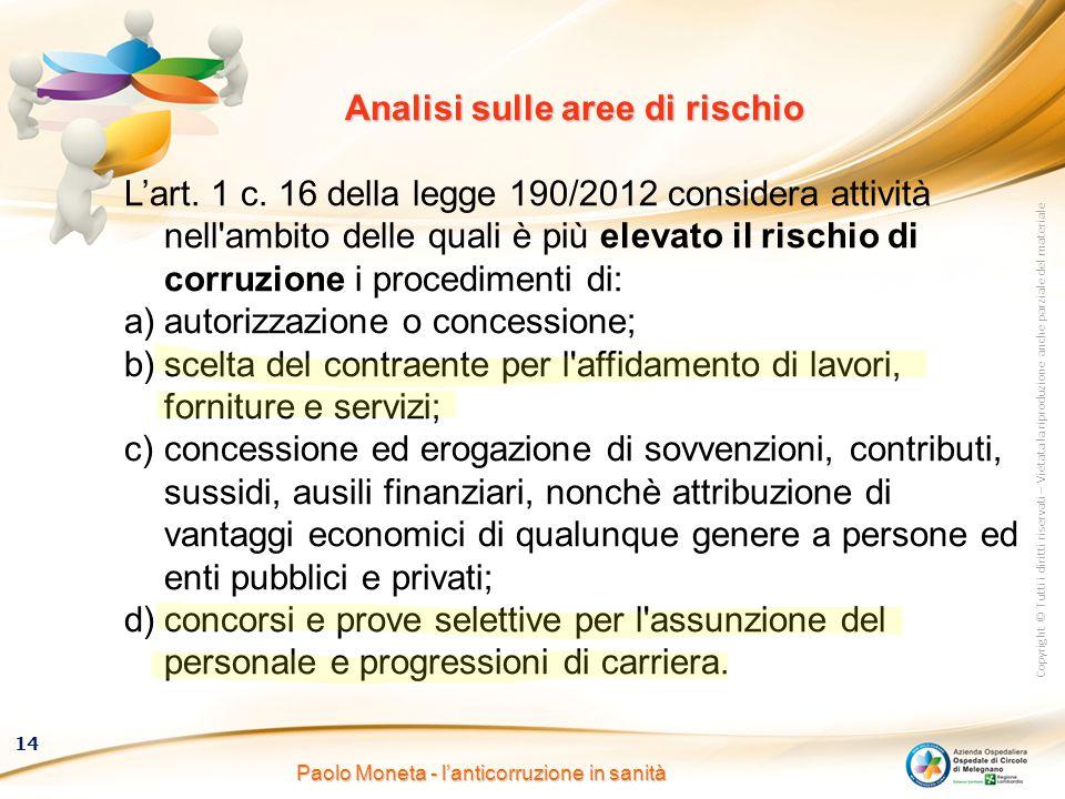 Copyright © Tutti i diritti riservati – Vietata la riproduzione anche parziale del materiale 14 Paolo Moneta - l'anticorruzione in sanità Analisi sull