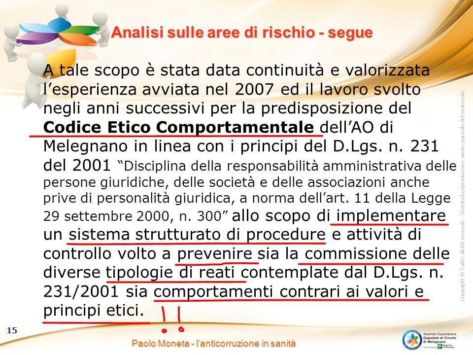 Copyright © Tutti i diritti riservati – Vietata la riproduzione anche parziale del materiale 15 Paolo Moneta - l'anticorruzione in sanità Analisi sull