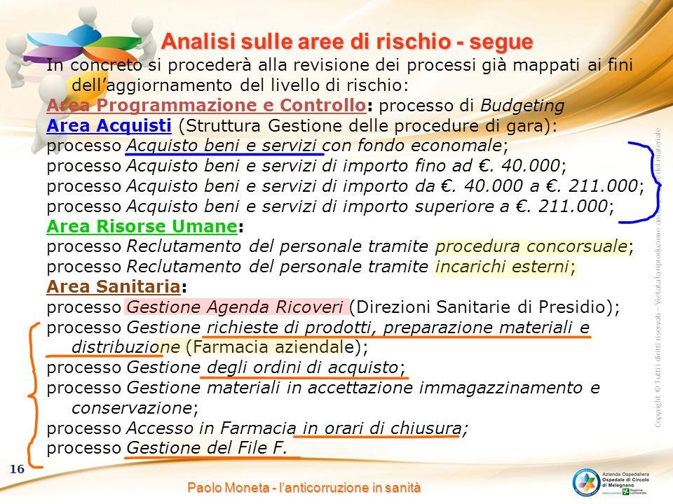 Copyright © Tutti i diritti riservati – Vietata la riproduzione anche parziale del materiale 16 Paolo Moneta - l'anticorruzione in sanità Analisi sull