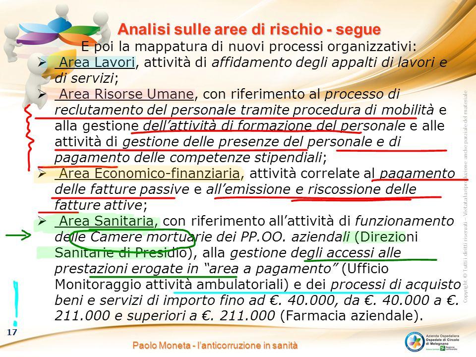Copyright © Tutti i diritti riservati – Vietata la riproduzione anche parziale del materiale 17 Paolo Moneta - l'anticorruzione in sanità Analisi sull