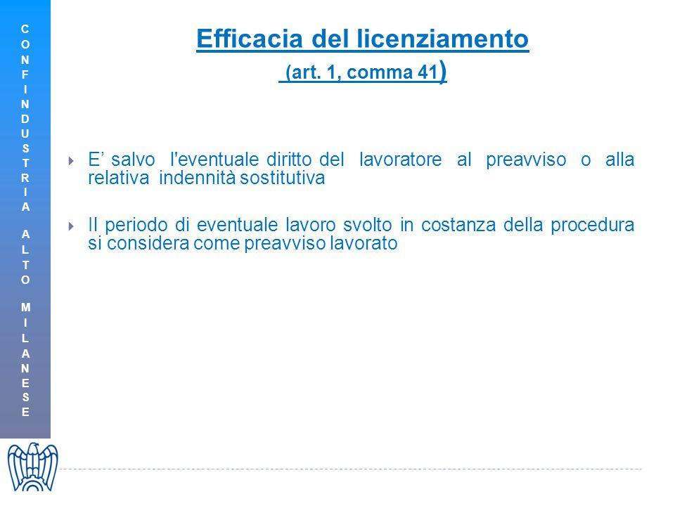 Efficacia del licenziamento (art.