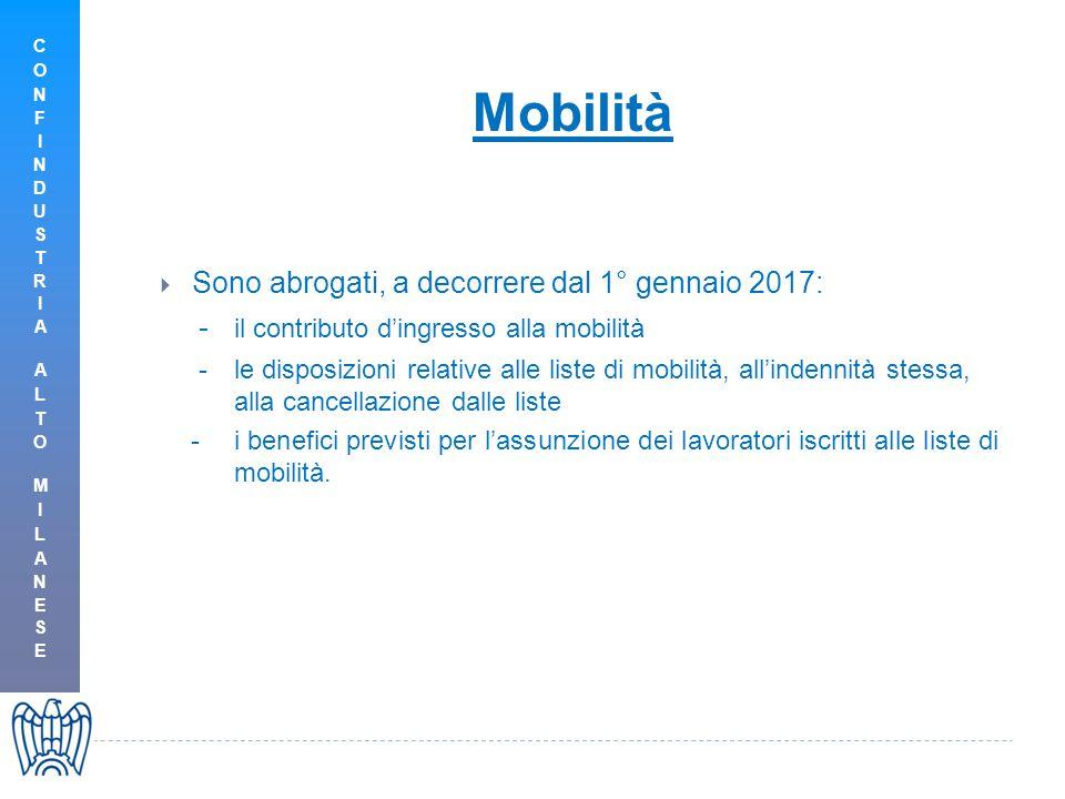 Sono abrogati, a decorrere dal 1° gennaio 2017: - il contributo d'ingresso alla mobilità -le disposizioni relative alle liste di mobilità, all'indennità stessa, alla cancellazione dalle liste -i benefici previsti per l'assunzione dei lavoratori iscritti alle liste di mobilità.