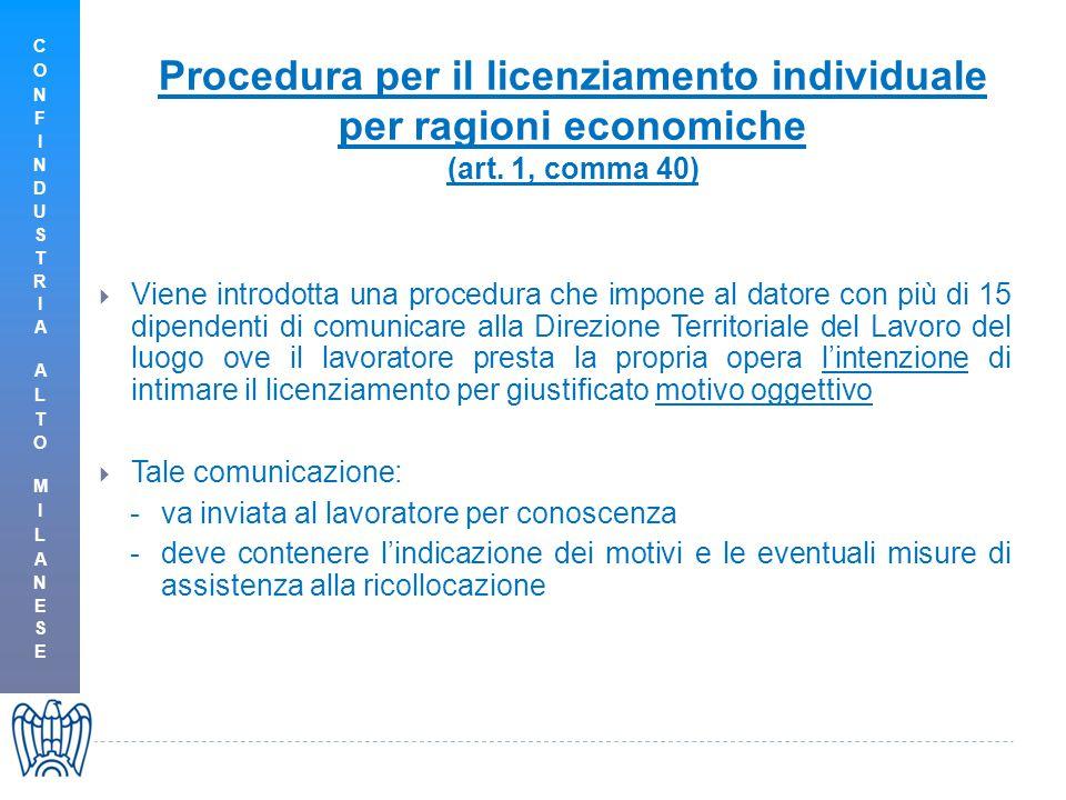Procedura per il licenziamento individuale per ragioni economiche (art.