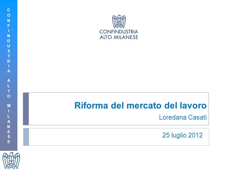 Riforma del mercato del lavoro Loredana Casati 25 luglio 2012