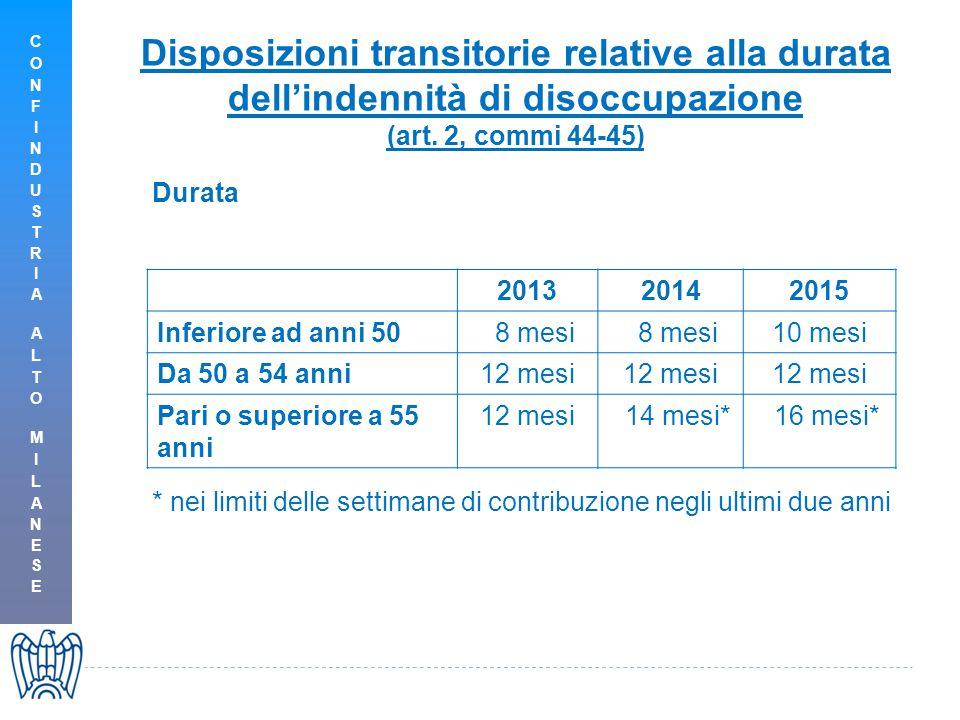 Disposizioni transitorie relative alla durata dell'indennità di disoccupazione (art.