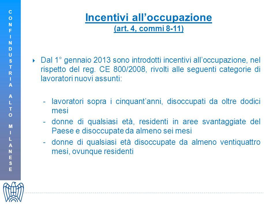 Incentivi all'occupazione (art.