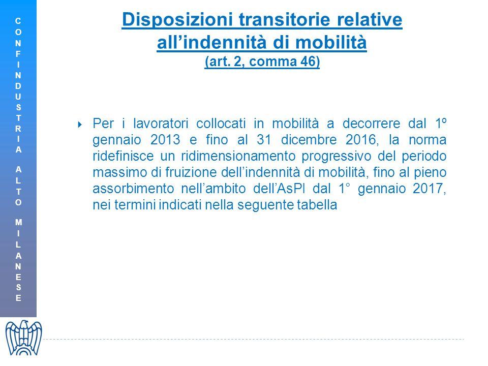 Disposizioni transitorie relative all'indennità di mobilità (art.