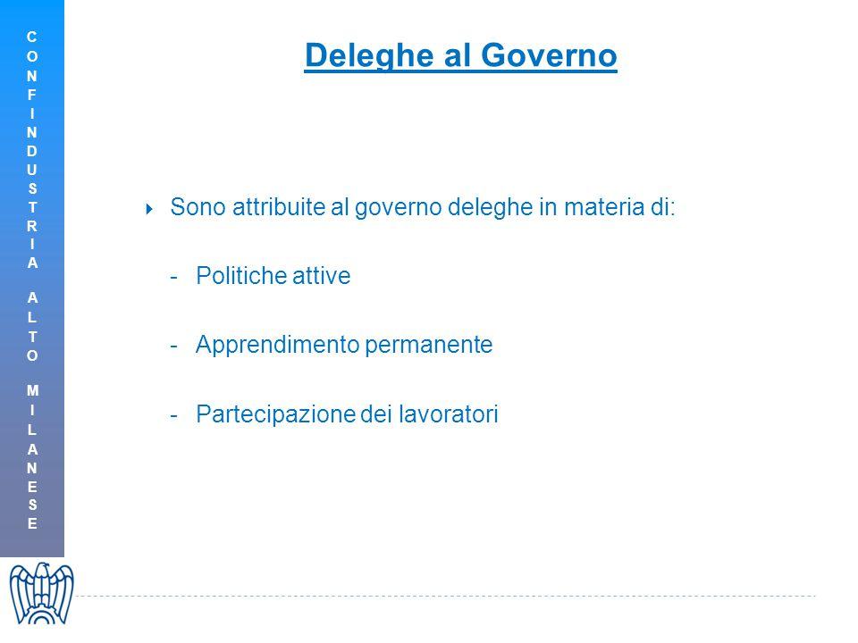  Sono attribuite al governo deleghe in materia di: -Politiche attive -Apprendimento permanente -Partecipazione dei lavoratori Deleghe al Governo