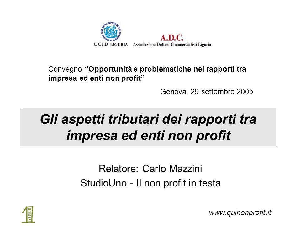 """Gli aspetti tributari dei rapporti tra impresa ed enti non profit Relatore: Carlo Mazzini StudioUno - Il non profit in testa Convegno """"Opportunità e p"""