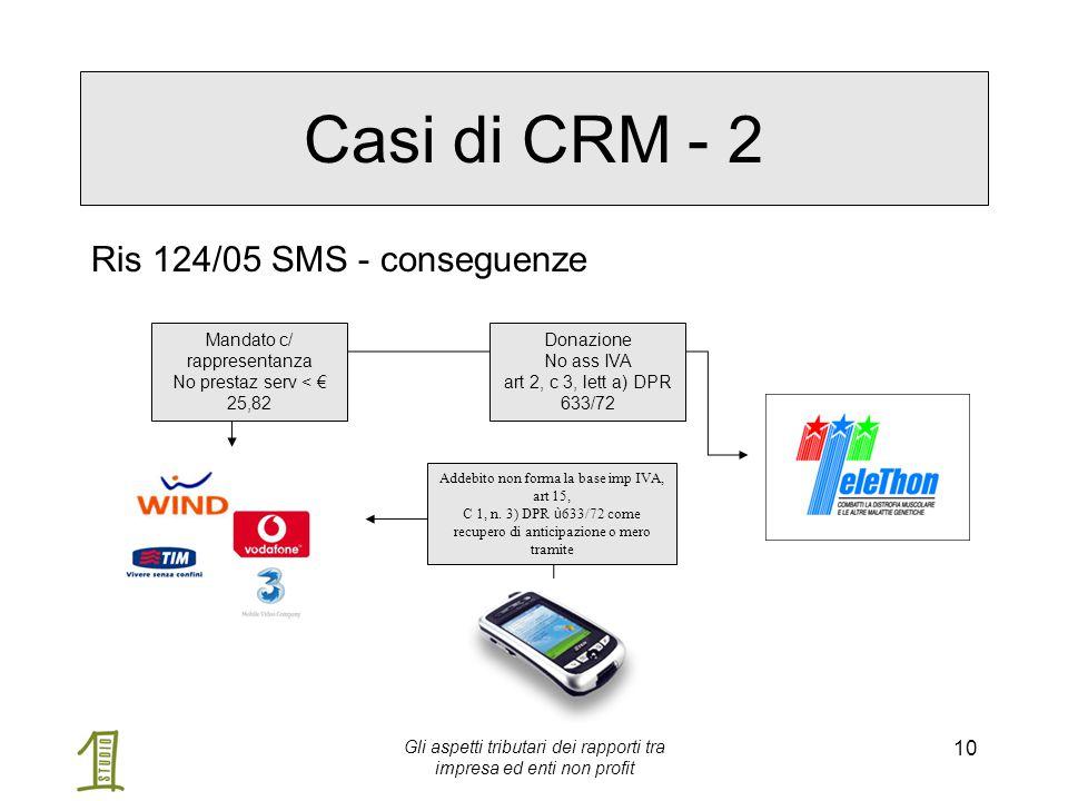 Gli aspetti tributari dei rapporti tra impresa ed enti non profit 10 Casi di CRM - 2 Ris 124/05 SMS - conseguenze Mandato c/ rappresentanza No prestaz